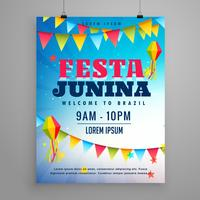 festa junina celebration poster flyer design with garlands decor