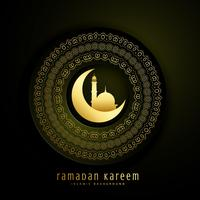 ramadan kareem greeting with moon, mosque and mandala decoration
