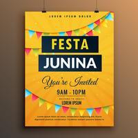 Festa Junina Inbjudan affischdesign med kransar