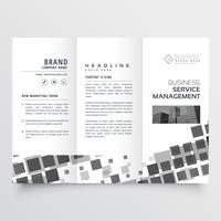 plantilla de diseño de folleto de mosaico negro abstracto estilo tri fold