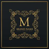 floral decorative frame border monogram logo voor letter M