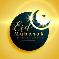 Hermoso diseño de tarjeta de felicitación eid mubarak con luna creciente