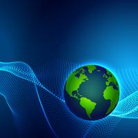 digital technology earth world map on blue background with dots