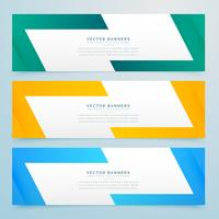 geometric web banners set in different colors