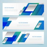 business style geometric banners and headers in blue color