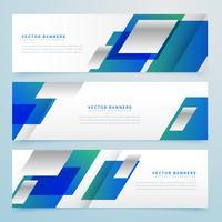 banners geométricos de estilo de negócios e cabeçalhos na cor azul
