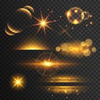 Conjunto de luces doradas y destellos con efecto de lente en t.