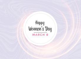 Diseño de tarjeta de felicitación del día de la mujer feliz con efectos de luz