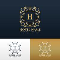 design del logo del marchio dell'hotel con la lettera H