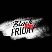 Cartel de anuncio de venta de viernes negro elegante con trazo de pintura blanca