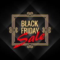 Cartel de venta de viernes negro con decoración artística marco en negro