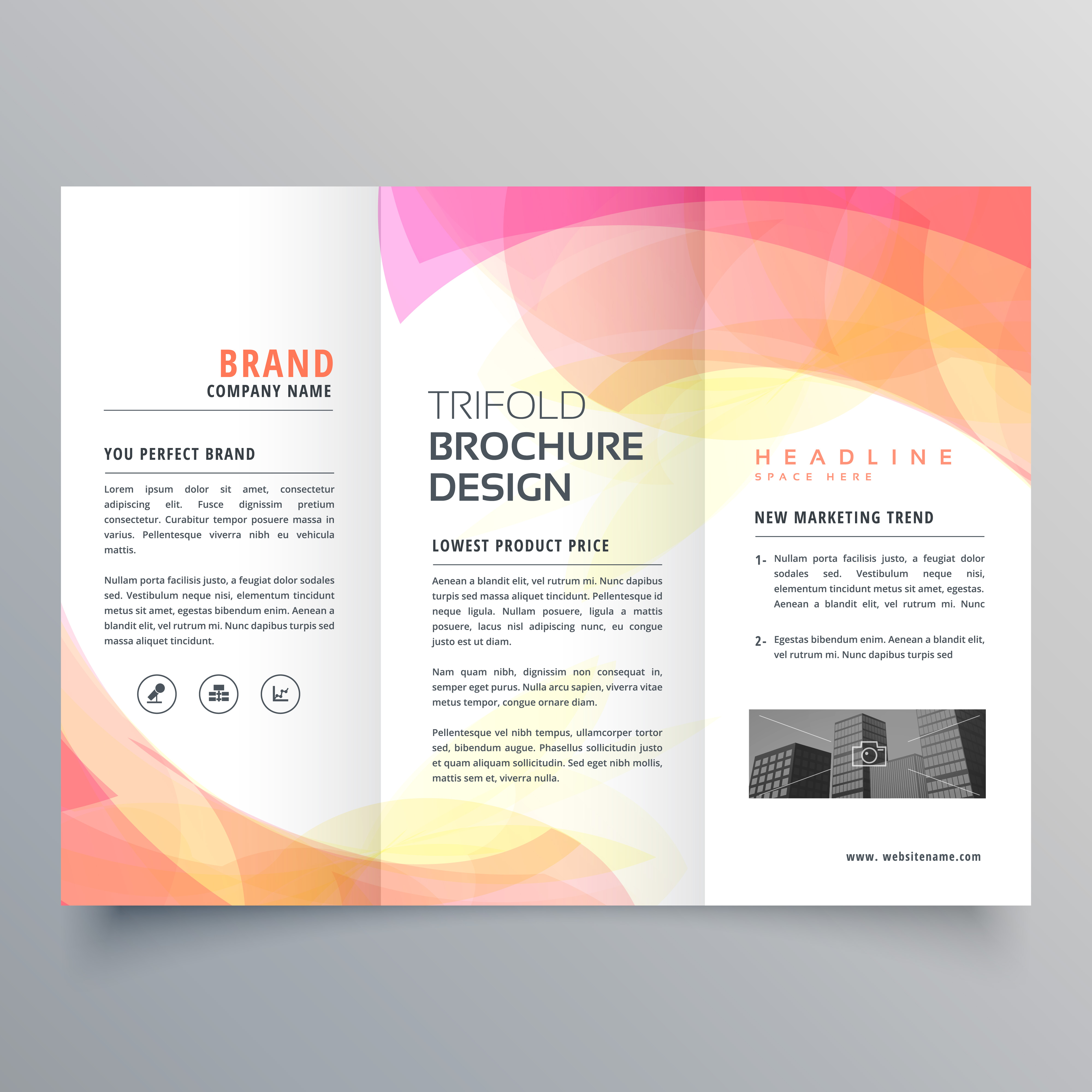 colorful abstract trifold brochure design template download free
