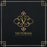 elegant floral style premium logo for letter V