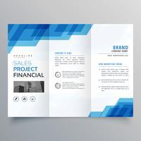 blaue geometrische trifold Geschäftsbroschüren-Designschablone