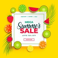 Banner de venta de verano brillante con fondo de frutas