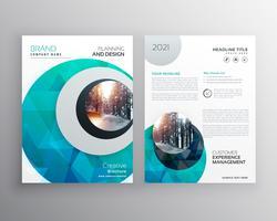 brochure bleue dépliant modèle de page de couverture pour rapport annuel en siz