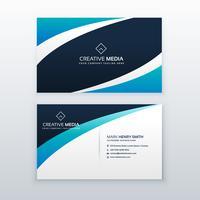 diseño de tarjeta de visita de onda azul impresionante