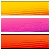 bright color empty banners with halftone effect