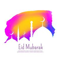creative eid festival design with colorful ink effect