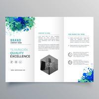 modelo de layout de folheto de negócios de tinta abstrata grungy com três dobras