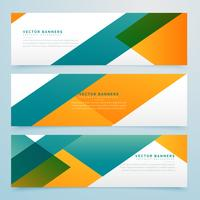 abstract geometric yellow and blue banners set