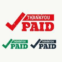 tack och betalad frimärksvektor
