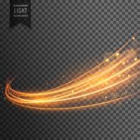 transparent ljus effekt med kurvspår och gyllene gnistar