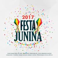 festa junina feier poster design mit konfetti