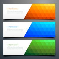 abstract colorful banners set with triangle pattern