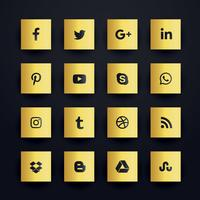gouden premium sociale media iconen set