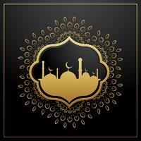 golden eid festival greeting card design with golden decoration