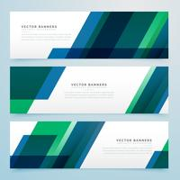 modern geometric blue and green business style banners