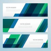 moderne geometrische blaue und grüne Geschäftsartfahnen