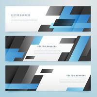 bannières géométriques abstraites noires et bleues fond