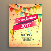 festa junina party feier poster design mit dekorativen ele