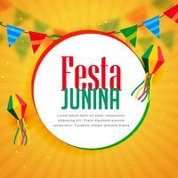 awesome festa junina greeting design with garlands