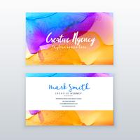 creative watercolor business card design template