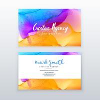 kreativ vattenfärg visitkort design mall