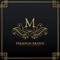 elegant golden premium brand logo concept made with floral style