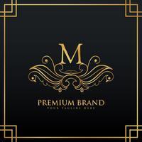 elegante concetto di logo del marchio premium dorato realizzato con stile floreale