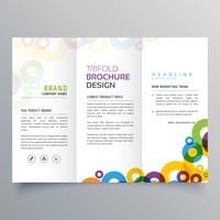 colorful circles business tri fold brochure vector design templa