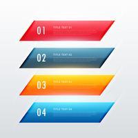 bunte infographic Fahnendesign mit vier Schritten