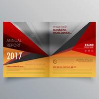 design de brochura bifold de negócios com cores quentes