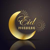 Saludo festival eid mubarak con línea dorada luna