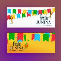 festa junina festival banners conjunto de dois
