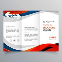 elegant red and blue wave business tri fold brochure design temp