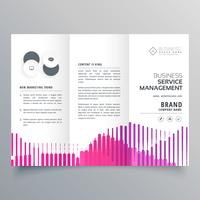 abstract trifold business brochure template with pink stripes in