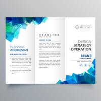 modello di layout brochure a tre ante affari con sha blu astratto