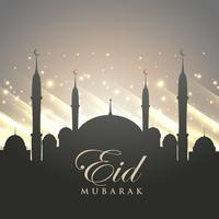 islamic eid festival greeting with mosque silhouette and shiny b