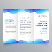 Trifold-Broschüren-Designschablone des kreativen blauen Aquarells